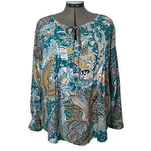 Boho peasant floral paisley tunic Susan Betro 1x